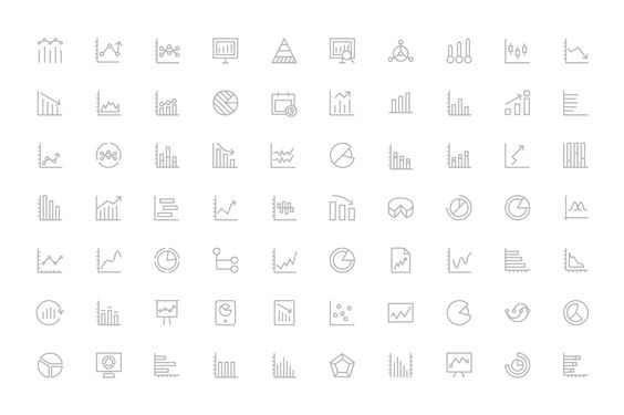 125+ Business Charts Line Icons by Creative Stall on Creative Market