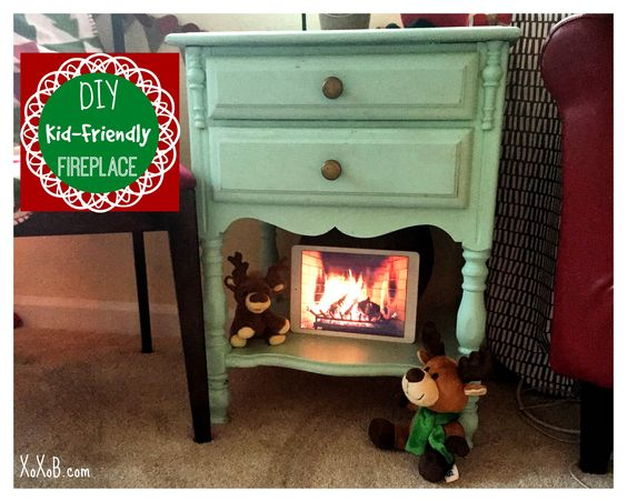 DIY Kid-safe fireplace! Christmas Room! So Cute #christmas #christmasdecor #decorating