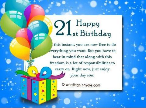 Son 21st Birthday 21st Birthday Wishes Happy 21st Birthday Wishes Birthday Wishes Messages