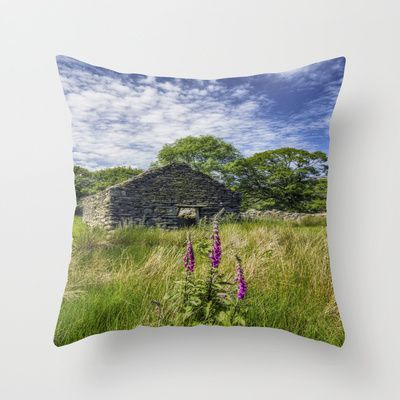 Countryside Ruin Throw Pillow by Ian Mitchell - $20.00