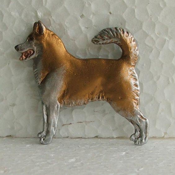 Siberian Husky Red White Brooch Dog Breed Jewellery Handpainted Resin