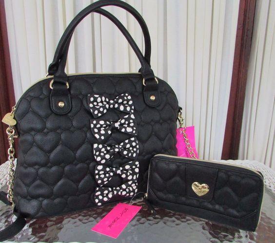 Betsey Johnson Chic Bows Dome Satchel Wallet Set Crossbody Bag Handbag Black NWT