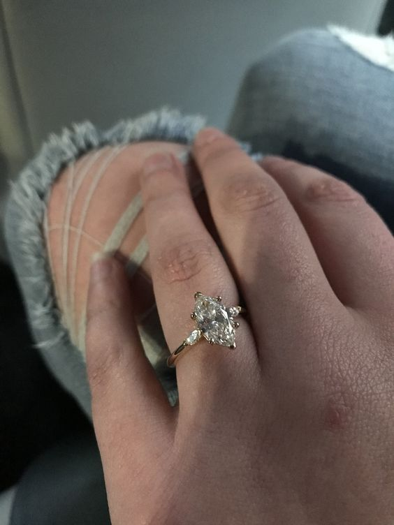 Wedding Ring 3 Carat Marquise Engagement Ring With Side Accent Stones Anniversary Ring 14K Solid Real White Gold Facets and Karats on Etsy