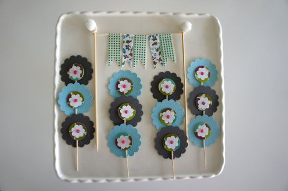Snacks Cake Party Pack Straws with Flags and by BluebirdSupply