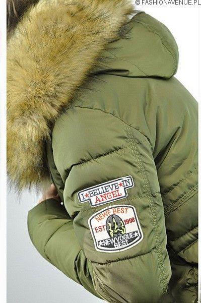 Kurtka damska zimowa parka naszywki jenot militarna asymetryczna khaki model #111 fashionavenue.pl: