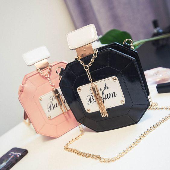 Chaves de moda perfume forma dos desenhos animados Messenger bags bolsas de…