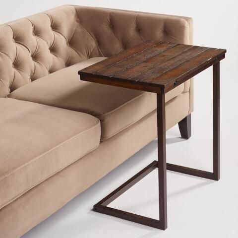 Oversized Wood And Metal Laptop Table With Images Couch Table