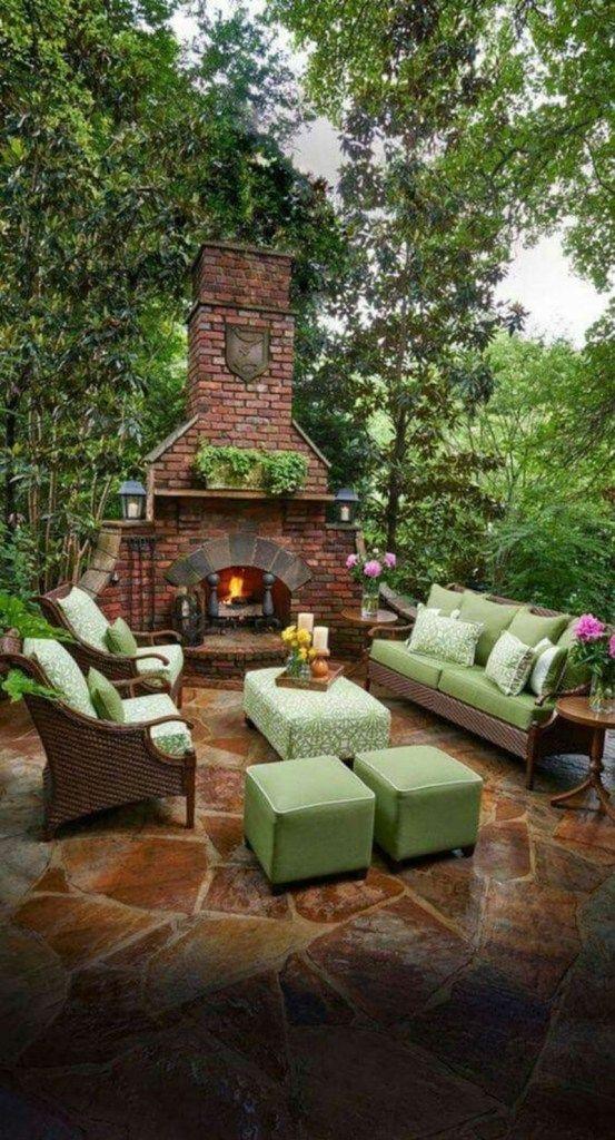 25 Beautiful Outdoor Fireplace Design Ideas Godiygo Com Backyard Patio Designs Backyard Fireplace Rustic Outdoor