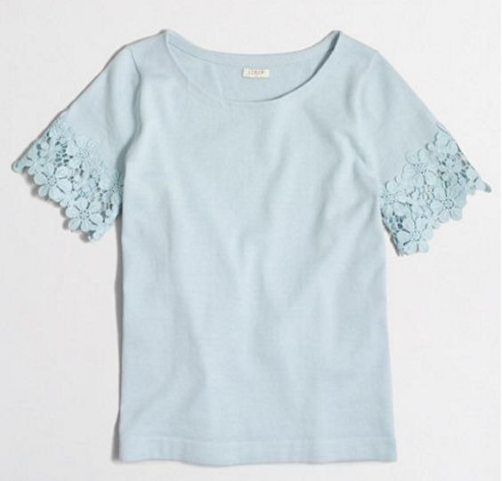 Lightweight, Lace-Sleeve Crew Sweater