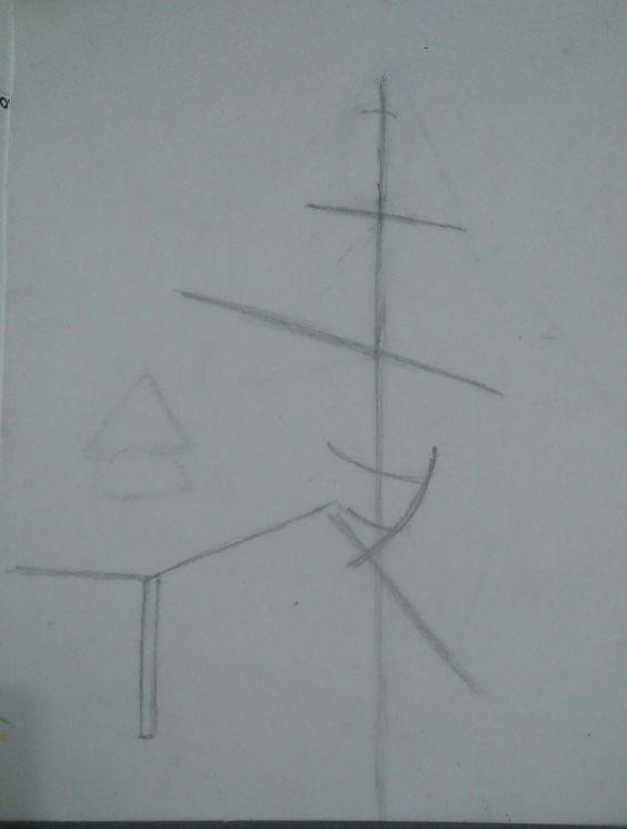 O primeiro passo foi o das linhas sob a imagem, utilizando papel vegetal para melhor visualização.