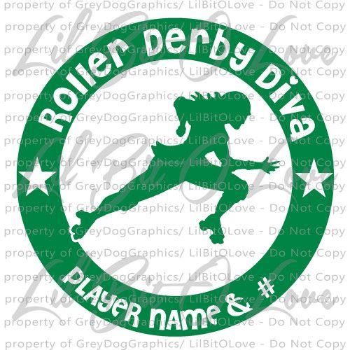 Custom Roller Derby Diva Vinyl Decal Derby Girl Sticker Personalized Vinyl Decals Derby Roller Derby