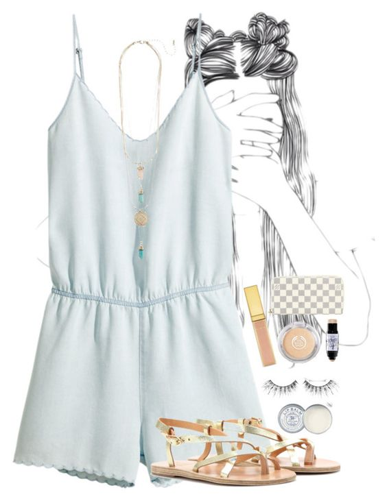 """""""Tag in the d!🌴💕"""" by mmprep ❤ liked on Polyvore featuring H&M, Ancient Greek Sandals, Jack Wills, MAKE UP FOR EVER, Benefit and Louis Vuitton"""