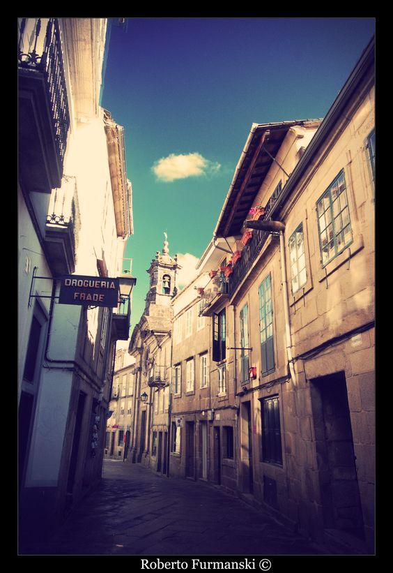 walking through the old part of Santiago de Compostela (Spain)
