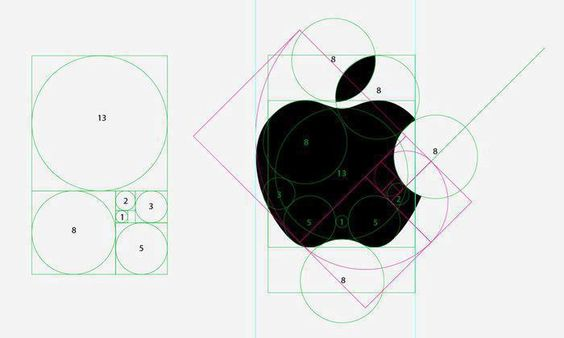 The Apple logo is based on the Fibonacci series. Paul Rand knew what he was doing.Paul is an American graphic designer, best known for his corporate logo designs, including the logos for IBM, UPS, Enron, Westinghouse, ABC, and Steve Jobs' NeXT.
