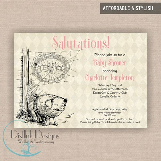 Charlotte's Web Inspired Baby Shower Vintage By DistInkDesigns, $17.65