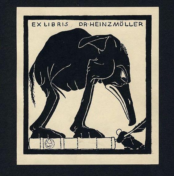 Marcus Behmer, Ex libris con strano elefante, linoleum c.1910 (segnalato via FB da Gino Roncaglia)