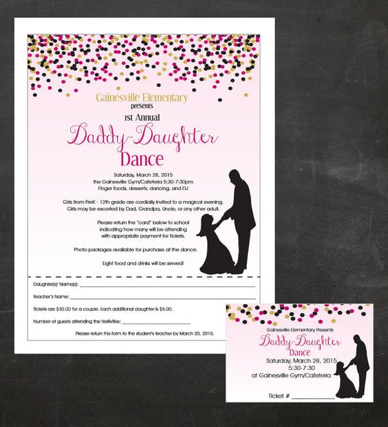 Daddy-Daughter Dance (Father and Daughter Dancing) - Event Custom Printable Package - flyer, tickets and poster