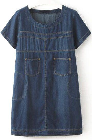 Navy Short Sleeve Pockets Loose Denim Dress 22.33