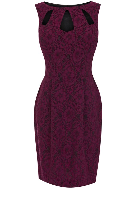 This sleeveless lantern dress has cut out detailing at the neckline and an all over lace finish to the fabric