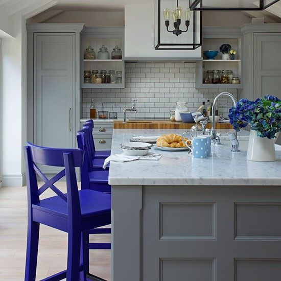 Traditional grey and blue shaker kitchen kitchen - Blue and gray kitchen decor ...