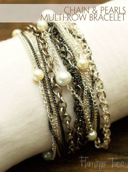 Chain & Pearl Multi-Row Bracelet