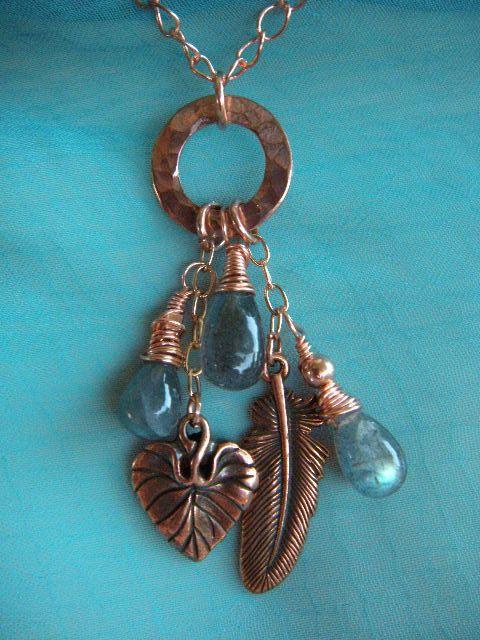 Copper Circle and Labradorite Drops Necklace