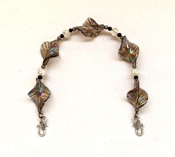 Black Leaves with Black & Silver Interchangeable** Bracelet