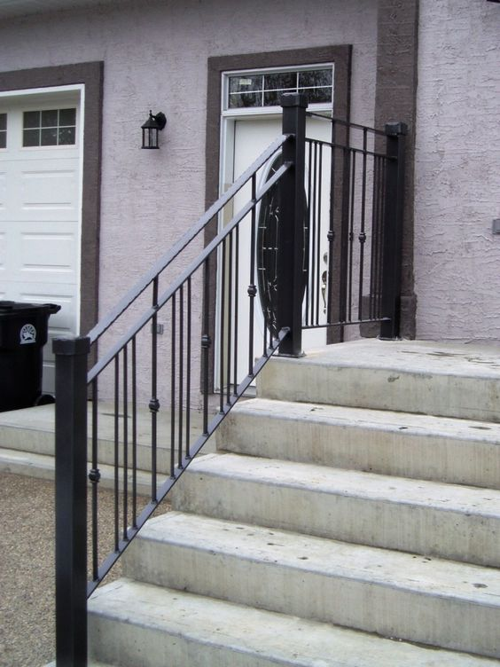 Modern exterior simple railing for front entrance with - Exterior wrought iron handrails for steps ...