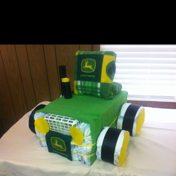 John Deere Diaper Tractor : My first john deere tractor diaper cake tmj