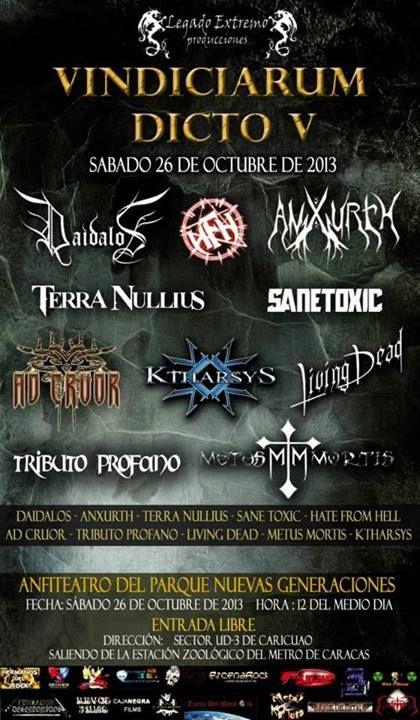 """Cresta Metálica Producciones » LEGADO EXTREMO PRODUCCIONES PRESENTA: """"VINDICIARUM DICTO V"""" (CARACAS) // 26-10-2013"""