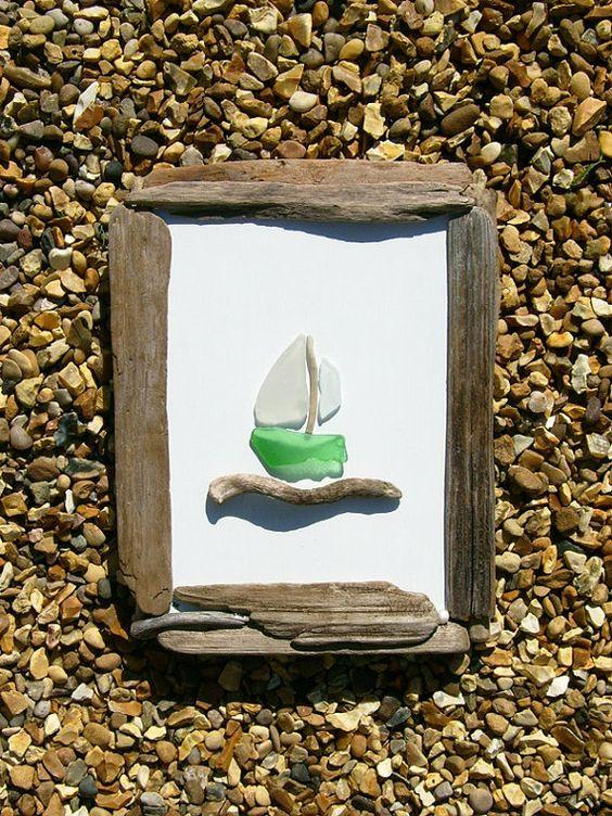 Treibholz und Meer-Glas-Bild von JulieHoranArt auf Etsy