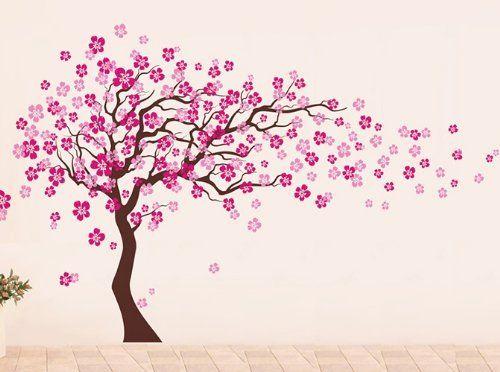 Amazon Com Pop Decors Removable Vinyl Art Wall Decals Mural Cherry Blossom Tree Dark Brown Hot Pink Baby Tree Wall Decal Blossom Trees Girl Decals