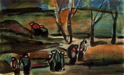 Invierno III - 1910. Pintura al aguarrás, pastel y lápiz graso. 19,5 x 31 cm. Musée d´Art Moderne de la Ville de París. París. Francia.