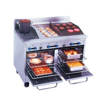 """Comstock-Castle Range gas - F3218-18-1.5RB    Comstock-Castle Range gas - F3218-18-1.5RB  Range, gas, 48"""" W, (2) 24,000 BTU star burners w/12""""square cast iron grates, (1) 18"""" wide 3/4"""" thick griddle w/manual controls, (1) 18"""" char-broiler w/iron radiants, (2)space-saver ovens w/enamel lining, s/s exterior & 7"""" high backguard, 6"""" s/s legs, 143,000 BTU"""