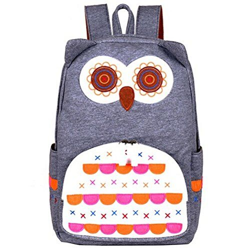 Samaz Cute Owl School Bags Bookbag School Backpack for Girls Backpack for College (Gray) * Details can be found by clicking on the image.