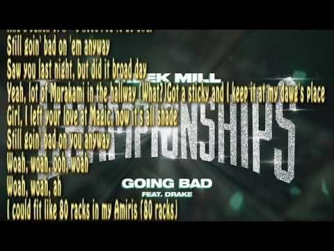 Meek Mill Ft Drake Going Bad Clean Lyrics Youtube Bad Things Lyrics Meek Mill Lyrics