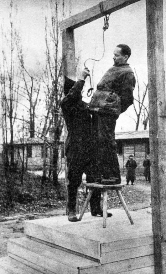 Rudolf Hoess the commandant of the Auschwitz concentration camp, is hanged next to the crematorium at the camp, 1947