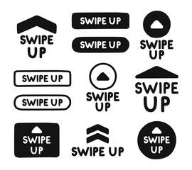 Hand Drawn Swipe Up Icon Set Isolated On White Background For
