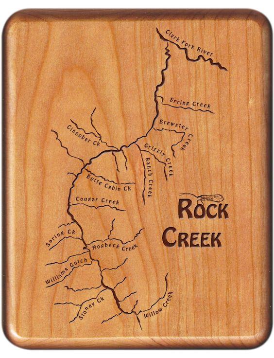 Rock Creek Map Fly Box  Missoula Montana  Cherry Wood