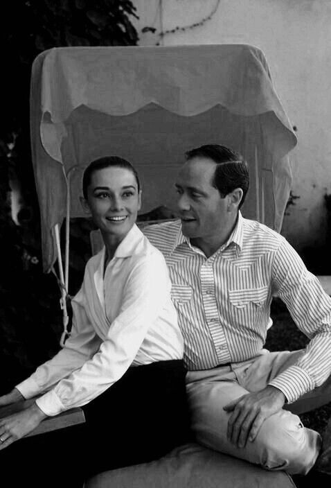Audrey Hepburn and her husband Mel Ferrer in Durango, Mexico 1959..