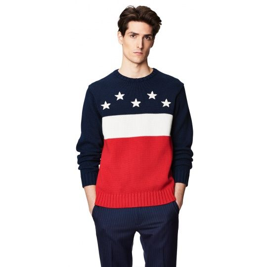 Gant Cotton Block American Flag Crew Sweater