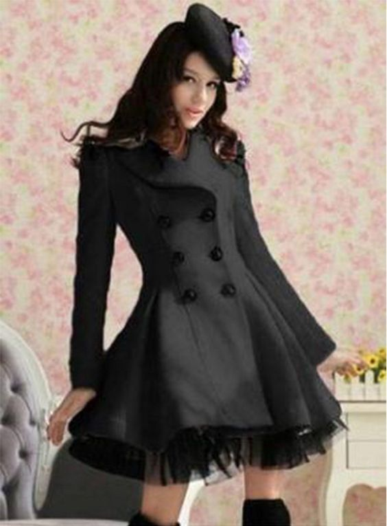 Black Wool Long Winter Dress Coat | Wool For women and The white