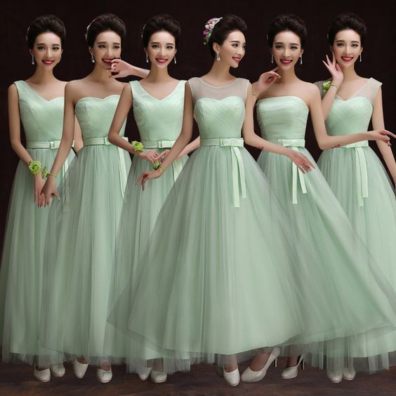 Long Mint Bridesmaid Dresses Tulle Sheer Shoulder Ankle Length Sweetheart Formal Dress Vestido De Madrinha De Casamento Longo