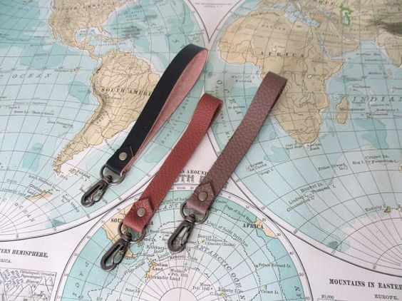 Leather wrist strap // Clutch add on // Key fob // by atlaspast