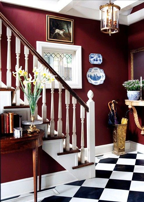 I like this deep red with the black and white tile and the blue accents