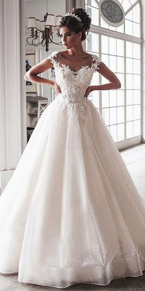 Discount Outstanding Lace Wedding Dress Wedding Dress Ball Gown Applique Wedding Dress Bea In 2020 Long Wedding Dresses Applique Wedding Dress Ball Gown Wedding Dress