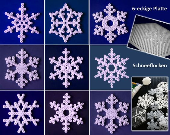 snowflakes hama perler beads perler beads pinterest. Black Bedroom Furniture Sets. Home Design Ideas