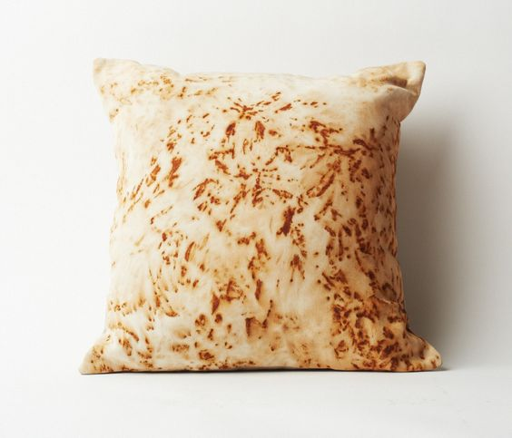Throw Pillows Uses : Throw pillow hand dyed with rusted metal to create an abstract pattern in a rich orange color ...