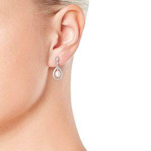 Beaverbrooks   RaceReady Style  Silver Cubic Zirconia Fresh Water Pearl Drop Earrings #Beaverbrooks #RaceReady #Jewellery