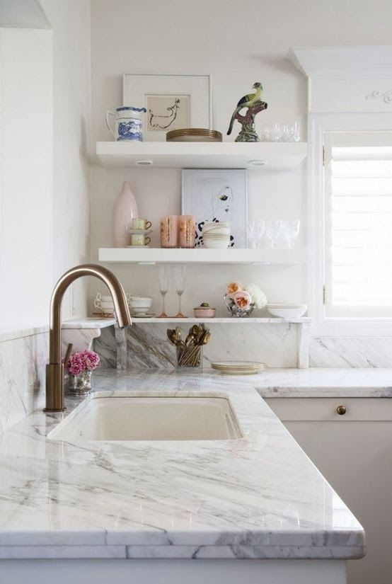 Carrara Marble in Kitchens at ModVintageLife.com